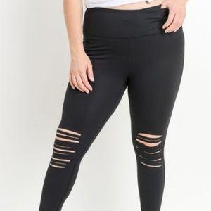 Women PLUS Size Highwaist Shredded Knee Laser-Cut